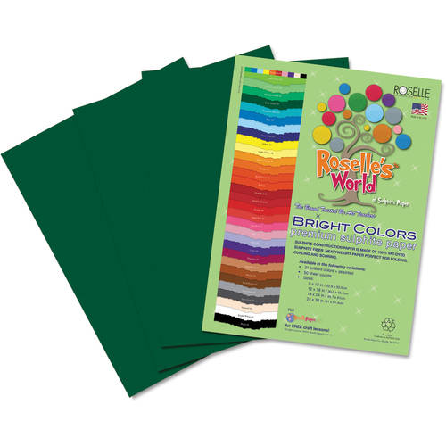 "Roselle Premium Sulphite Construction Paper, 12"" x 18"", 50 Sheets/Pack, Available in Multiple Colors"