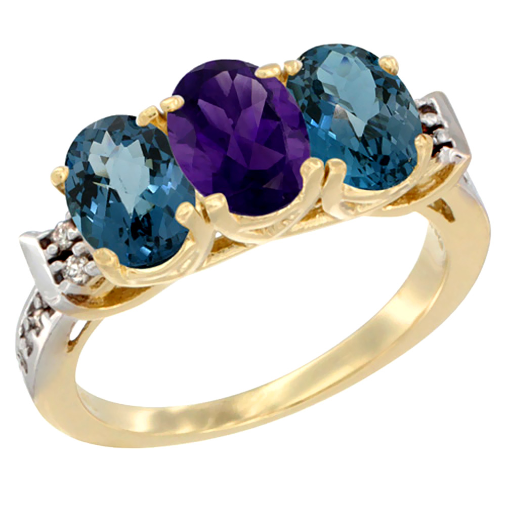 10K Yellow Gold Natural Amethyst & London Blue Topaz Sides Ring 3-Stone Oval 7x5 mm Diamond Accent, sizes 5 10 by WorldJewels