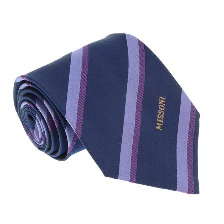 Missoni U5035 Purple/Navy Regimental 100% Silk Tie