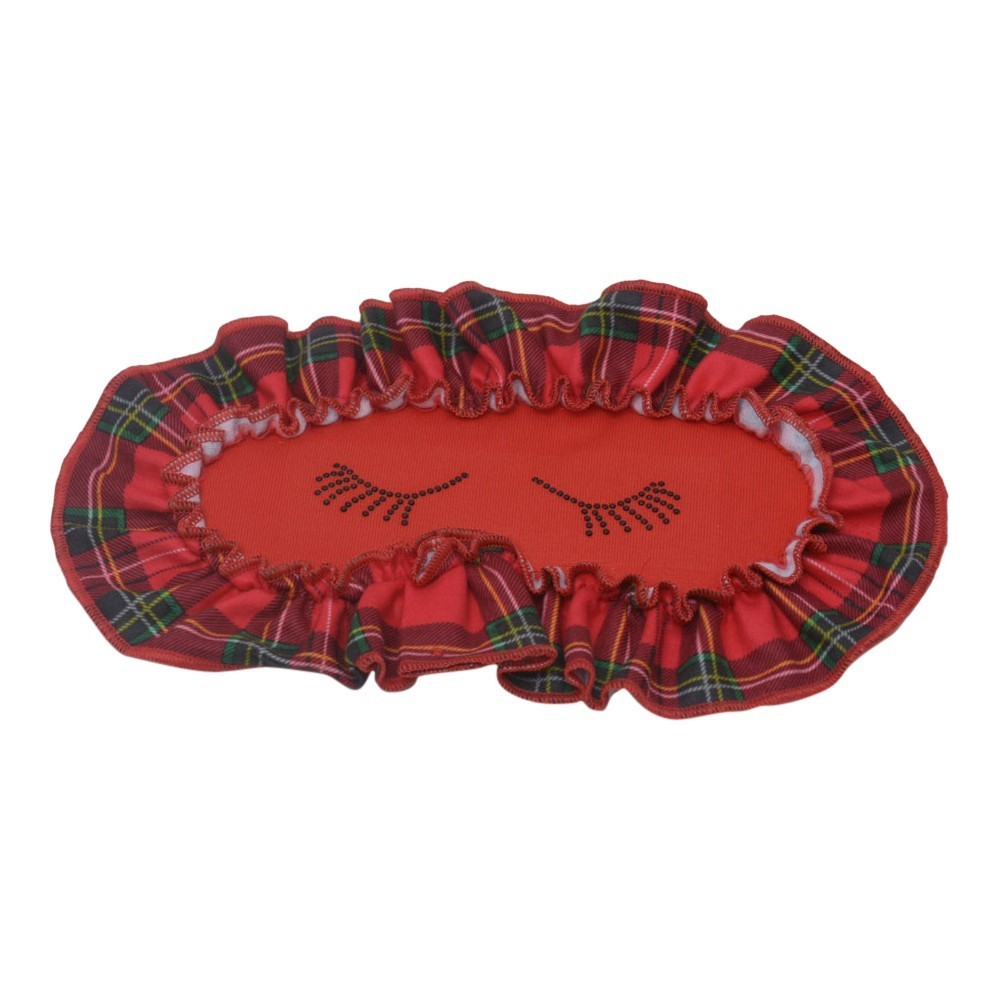 Laura Dare Girls Red Green Plaid Eyelash Applique Eye Mask