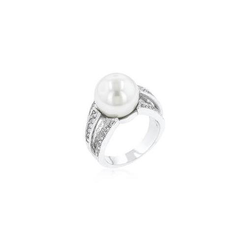 White Gold Rhodium Bonded to Lead Free Brass Alloy Bridal Ring with 12 mm Pearl Center and adorned with 36 Cubic