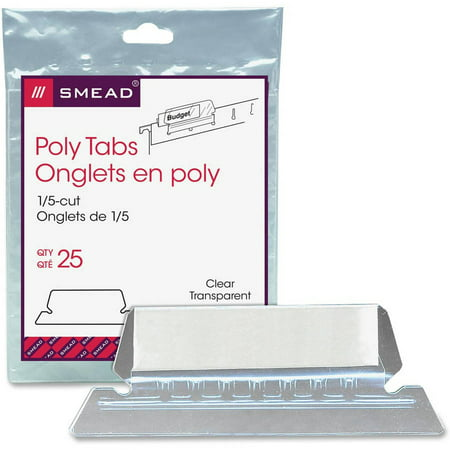 Color 1/5 Cut Tabs (Smead Poly Tab 1/5 Cut Tab, Clear, 25 Per Pack (64600) )