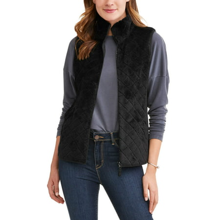 Trui Vest.Time And Tru Time And Tru Women S Quilted Sweater Vest Walmart Com