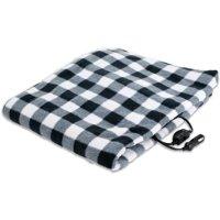 Treksafe Automotive 12V Heated Travel Blanket (Black and White Plaid 39 x 57)
