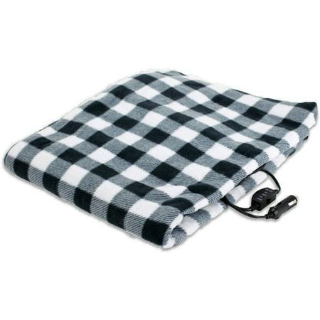 TREKSAFE 12-Volt Heated Travel Blanket, White
