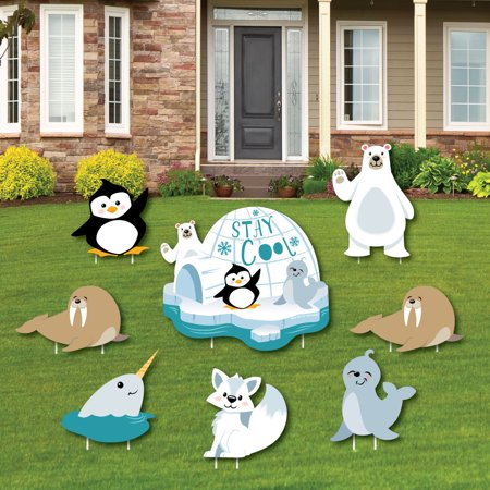 1st Birthday Yard Sign (Arctic Polar Animals - Yard Sign and Outdoor Lawn Decorations - Winter Baby Shower or Birthday Party Yard Signs - 8)