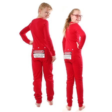 79806089e7 Big Feet Pajamas - Red Union Suit Kids Pajamas DANGER BLAST AREA Sign on Rear  Flap - Walmart.com