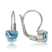 Sterling Silver 1.8ct Blue Topaz  Heart Leverback Earrings, 6mm