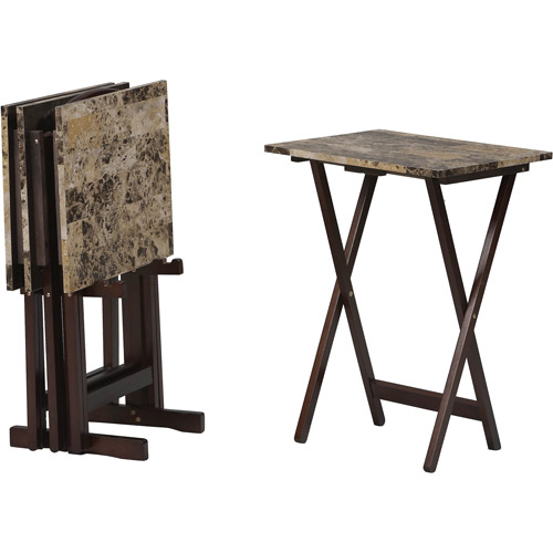 Linon Tray Table Set, Brown Faux Marble, Set of 4 Plus Stand
