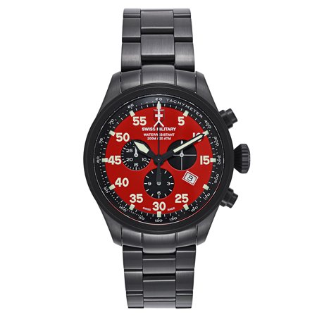Swiss Military  Hawk Black Strap And Red Dial Pvd Coated Stainless Steel Mens Watch
