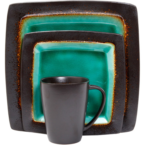 Gibson Everyday Ocean Oasis 16-Piece Dinnerware Set, Turquoise