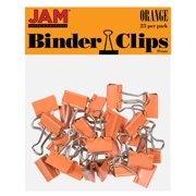 JAM Colorful Binder Clips, Small, 3/4 Inch (19 mm), Orange Binderclips, 25/Pack