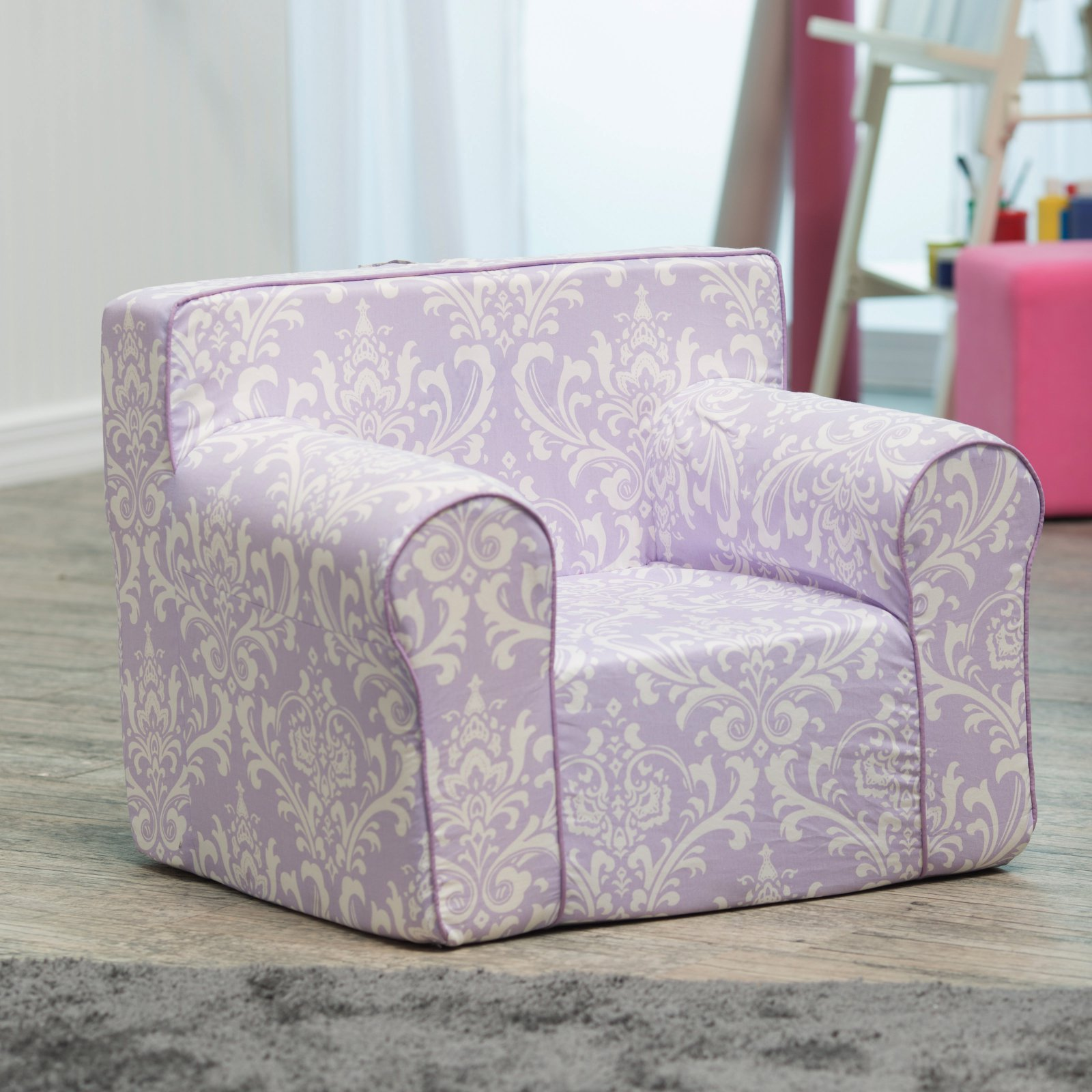 Here and There Kids Chair - Purple Damask