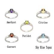 De Buman Genuine Gemstone Sterling Silver Ring Garnet, size 8