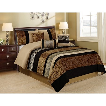 Unique Home 7 Piece Sambar Animal Kingdom Clearence Safari Comforter Sets King Size Tiger,Lepard,Snake Prints