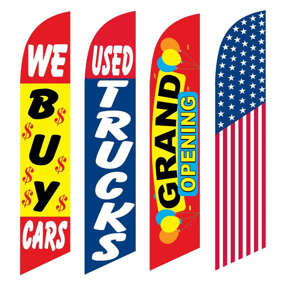 4 Advertising Swooper Flags We Buy Cars Used Trucks Grand Opening America