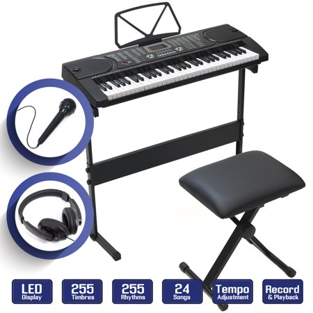 61-Key Electronic Keyboard Piano with Stand, Stool, Headphones &