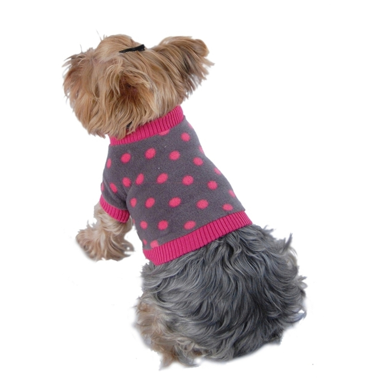 Pink Gray Polka Dot Soft Fleece Fabric Shirt For Dog - Small (Gift for Pet)