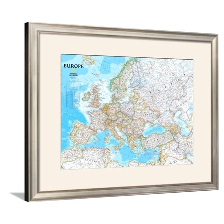 Europe Political Map Framed Art Print Wall Art  - 40.5x32.5