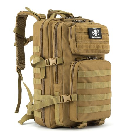 35l Tactical Backpack Barbarians Molle Bug Out Bag Military Assault Pack Rucksack For Outdoor Hiking Camping Tan