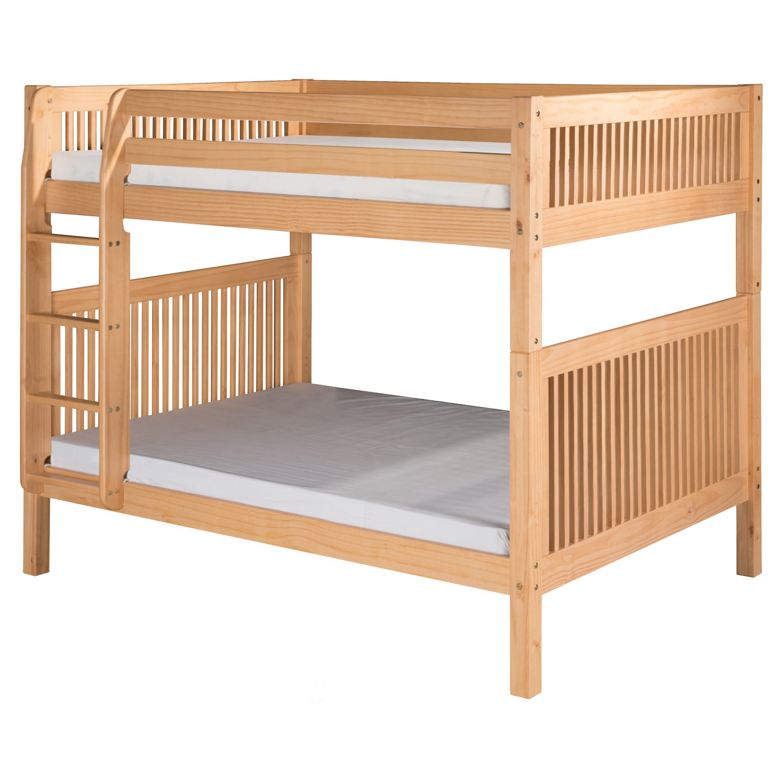 Camaflexi Full over Full Bunk Bed - Mission Headboard - Natural Finish