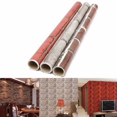 Meigar 3D Roll Natural Embossed Brick Wallpaper 45cmx100cm Modern  Textured Bricks PVC Wall Paper for Home Kitchen TV Background Realistic Wall Decoration Wall Paper ,Red (Spot Texture Wallpaper)