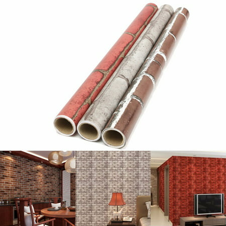 Meigar 3D Roll Natural Embossed Brick Wallpaper 45cmx100cm Modern  Textured Bricks PVC Wall Paper for Home Kitchen TV Background Realistic Wall Decoration Wall Paper ,Red color