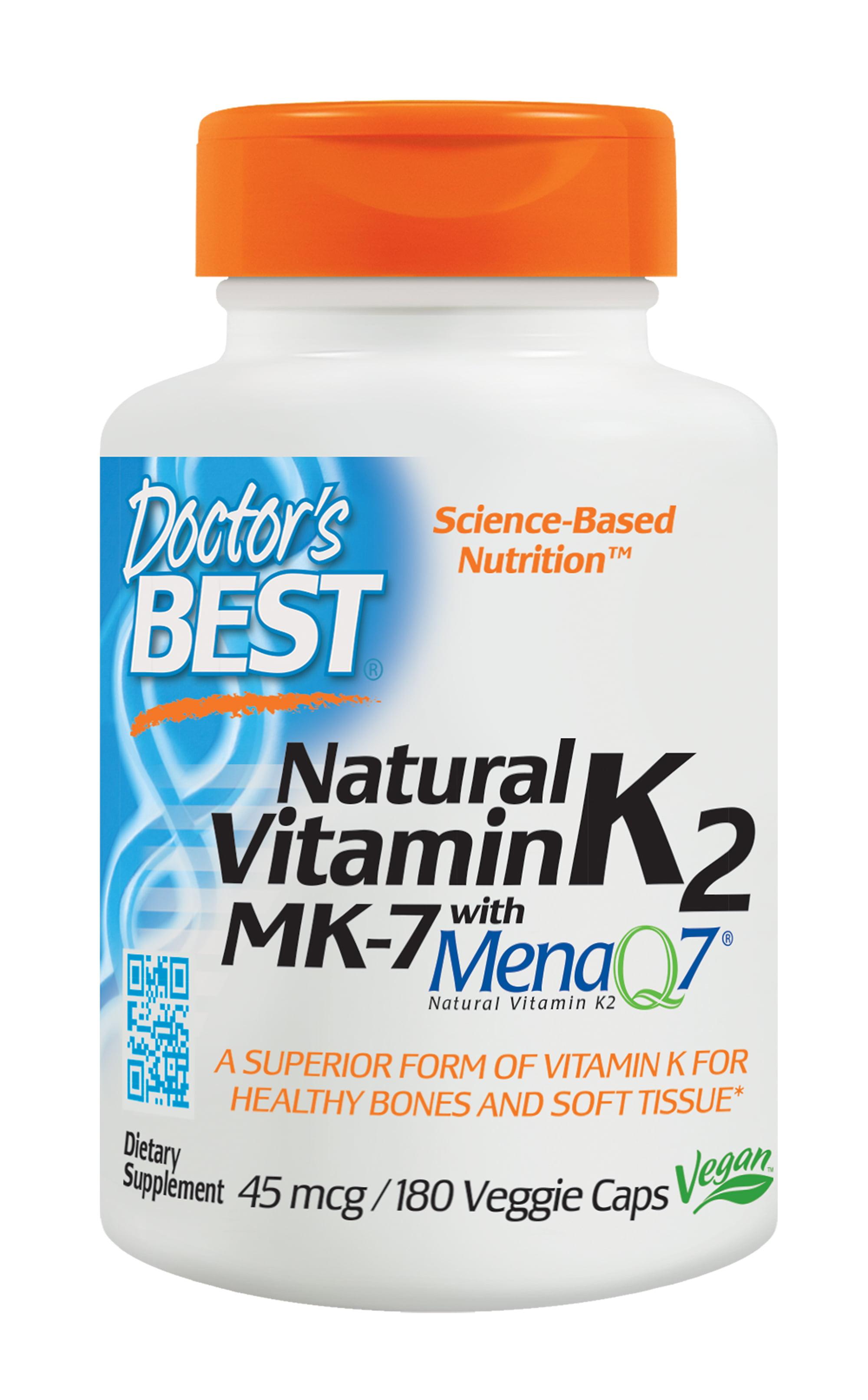 Doctor S Best Natural Vitamin K2 Mk 7 With Menaq7 Non Gmo Vegan Gluten Free Soy Free 45 Mcg 180 Veggie Caps Walmart Com Walmart Com