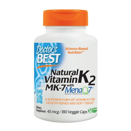 Doctor's Best Natural Vitamin K2 MK-7 with MenaQ7, Non-GMO, Vegan, Gluten Free, Soy Free, 45 mcg, 180 Veggie (Best Vitamins For 9 Month Old Baby)