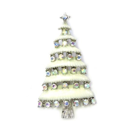 Gorgeous Rhinestone Crystal Christmas Tree Pin Brooch - AB/Silver-tone