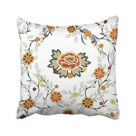 ARTJIA Floral Folk Big Flower Like Embroidered Peony Small Red Yellow Orange Simple Grey Pillowcase Throw Pillow Cover Case 16x16 inches