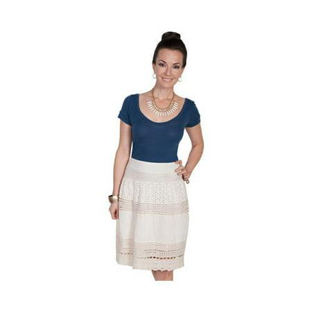 HC210-IVO-XXL Womens Multi Panel Short Skirt, Ivory - 2X-Large