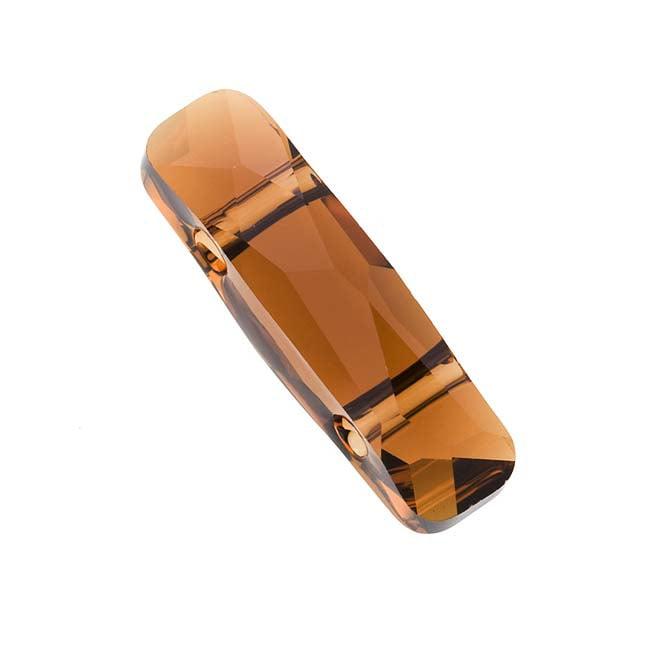 Swarovski Crystal, #5535 2-Hole Column Bead 19x5mm, 1 Piece, Smoked Topaz
