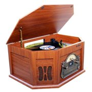7-in-1 Boytone BT-15TBSW Classic Turntable Stereo System, Vinyl Record Player, AM/FM, CD, Cassette, USB, SD slot. 2 Buil