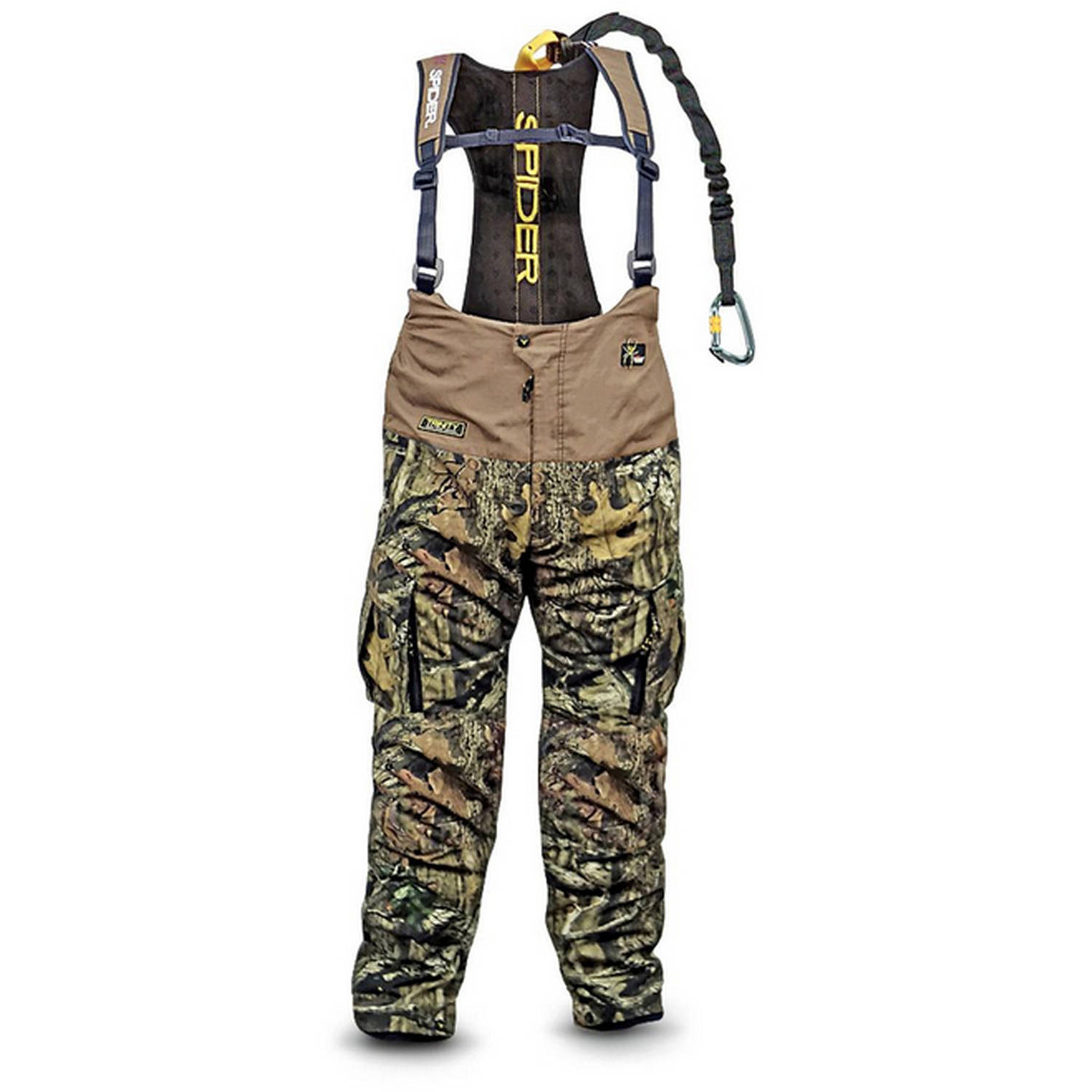 Men's Camo Bibs with Built in Harness System Tree Spider SpiderWeb ScentBlocker, Mossy Oak Infinity, Available in Multiple Sizes