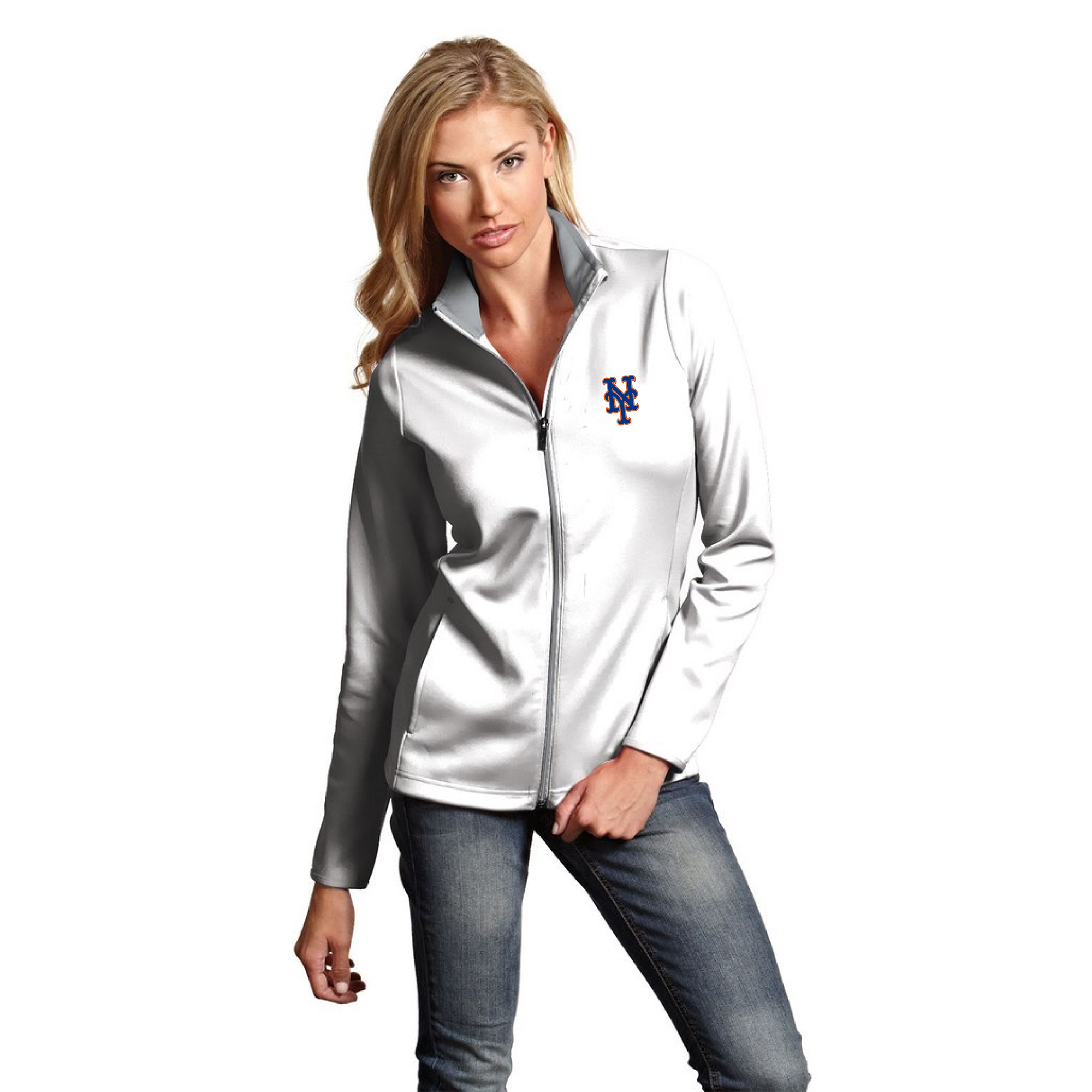 New York Mets Antigua Women's Leader Full-Zip Jacket White by ANTIGUA GROUP/ 22534