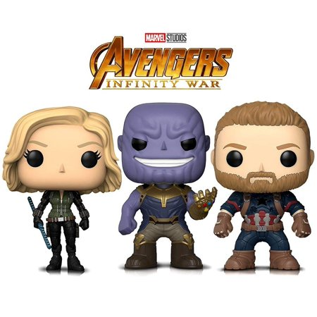 Warp Gadgets Bundle - Funko Pop Marvel Avengers Infinity War - Thanos, Black Widow and Captain America (3 Items) - Captain America And Black Widow