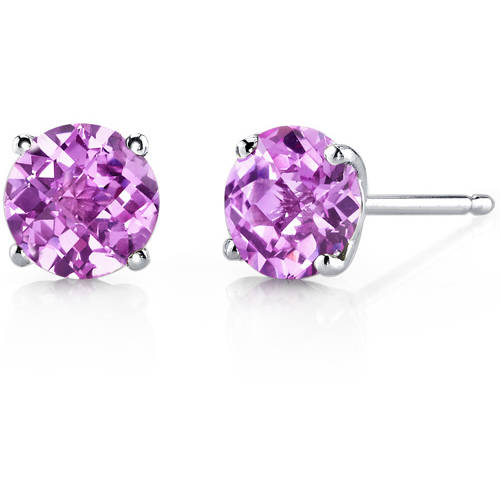 Oravo 2.25 Carat T.G.W. Round-Cut Created Pink Sapphire 14kt White Gold Stud Earrings by