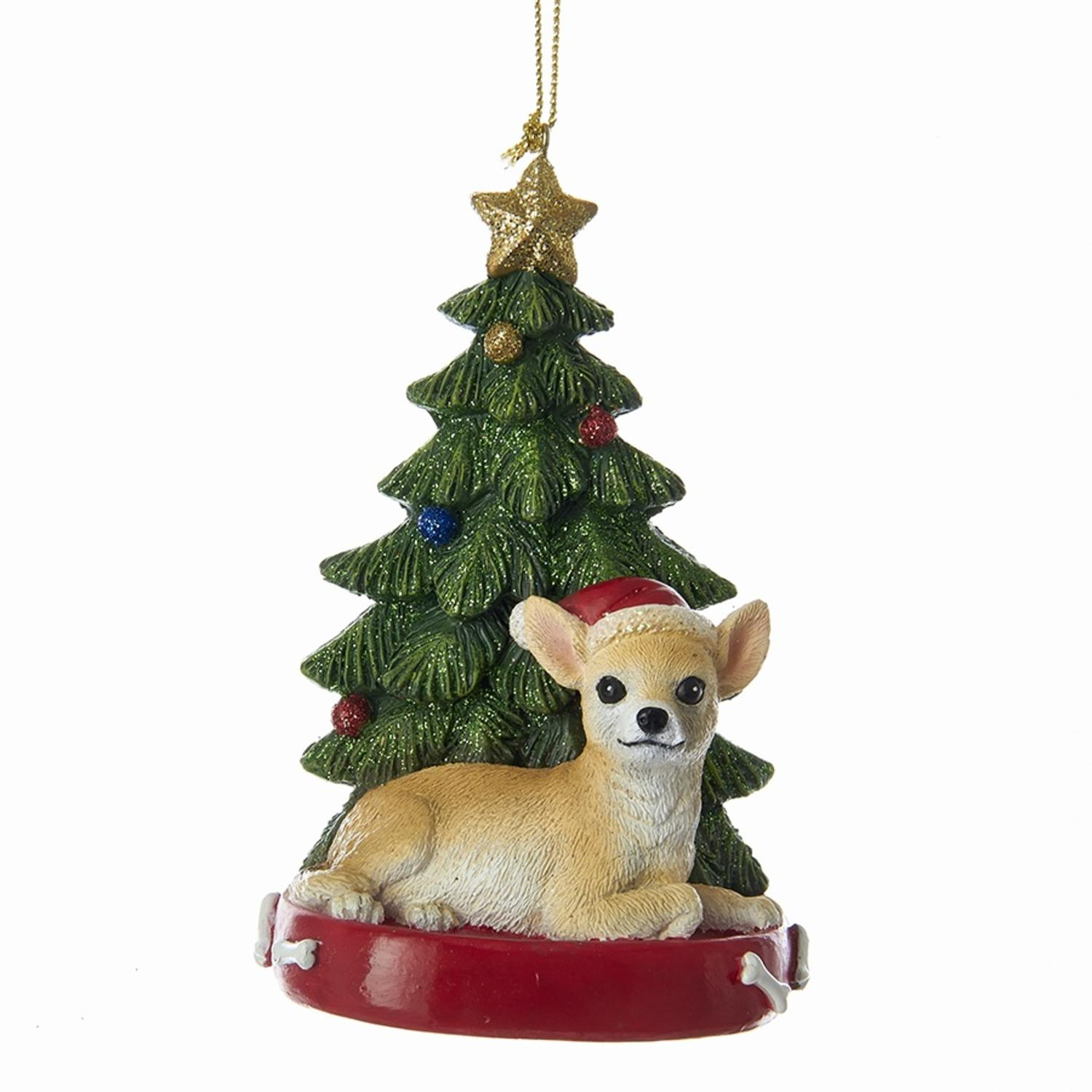 Pack of 6 Chihuahua Sitting with Glittered Tree Christmas Ornaments for Personalization 4.25""