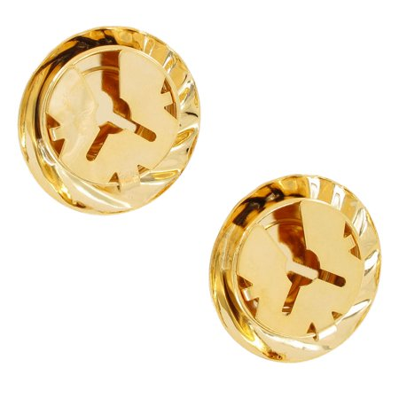 Large Gold Tone Button Cover Pair Faux Cufflinks Swirled Button ()