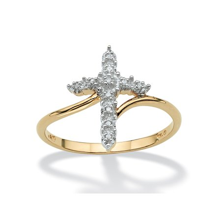 Accented Cross Ring (Round Diamond Accent Cross Ring in Solid 10k Yellow)