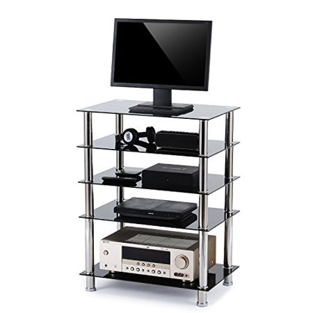 rfiver 5 tier audio video component shelves hifi stand hf1002. Black Bedroom Furniture Sets. Home Design Ideas