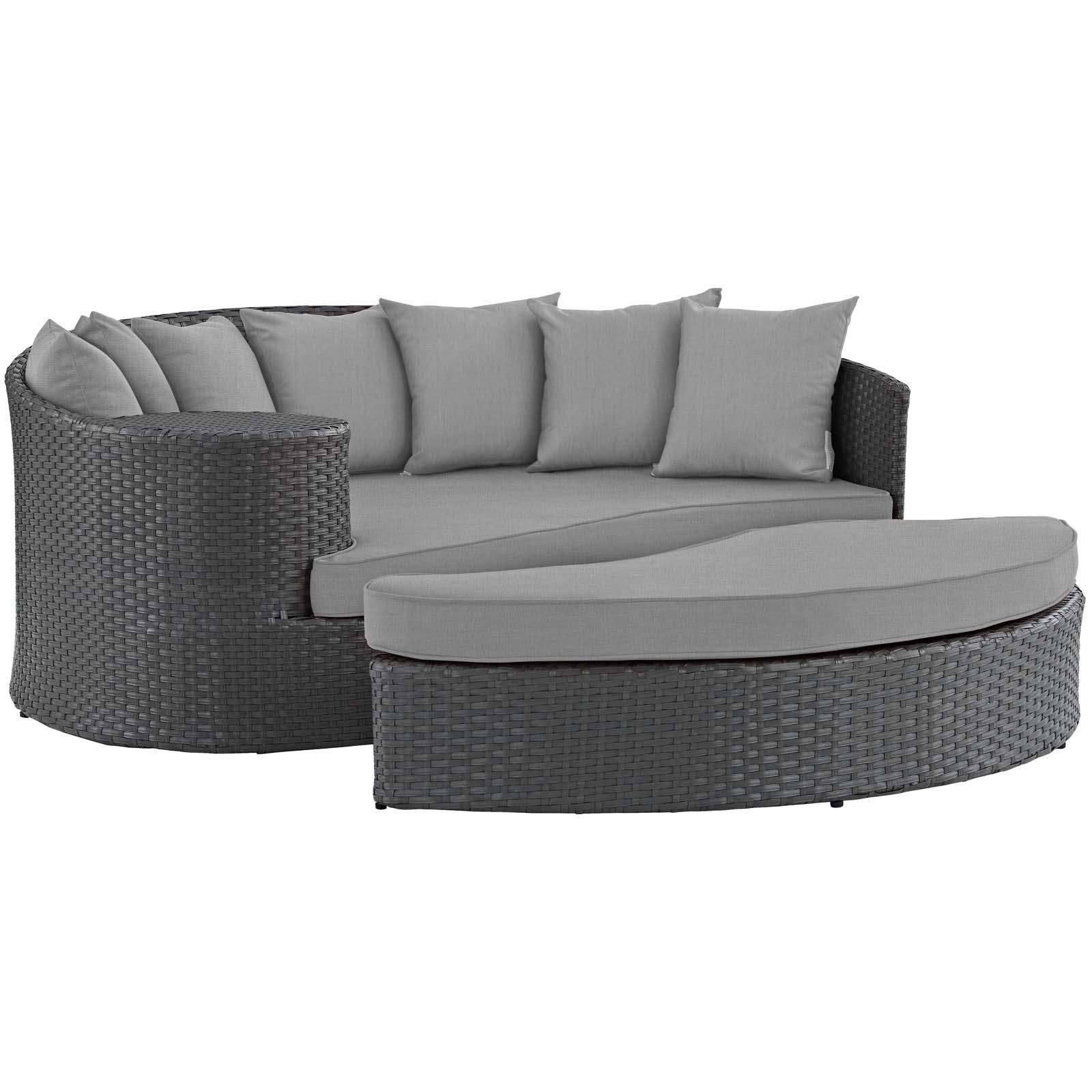 Modern Contemporary Urban Design Outdoor Patio Balcony Garden Furniture Lounge Daybed Sofa Bed, Sunbrella Rattan Wicker, Grey Gray