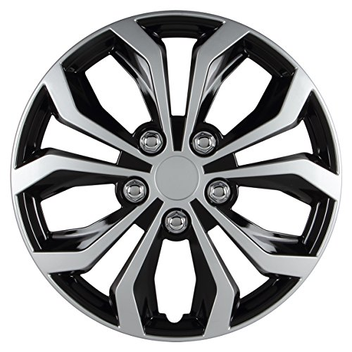 Pilot Automotive WH553-15S-BS Spyder 15 Performance Wheel Cover, Two Tone Black/Silver Finish, (Pack of 4)