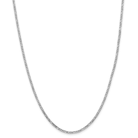 14K White Gold 2.4mm Flat Figaro Chain - image 5 de 5