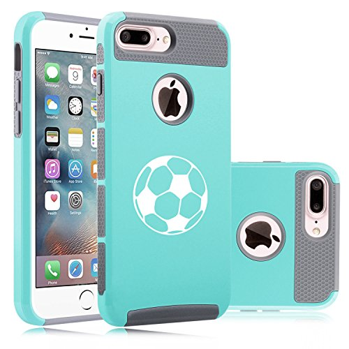 For Apple iPhone (7 Plus) Shockproof Impact Hard Soft Case Cover Soccer Ball (Teal-Gray)