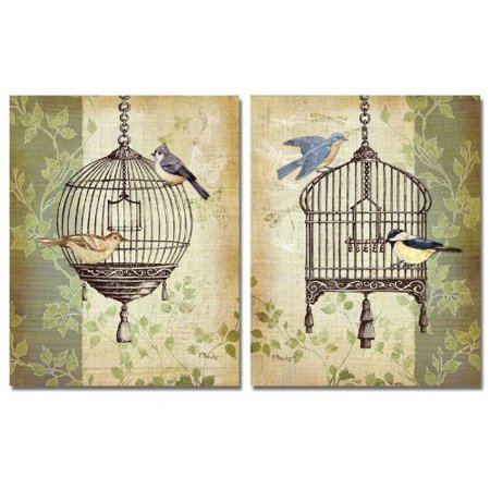 Botanical Birdcage I Rustic French Birdcage and Birds; Two 11X14 Poster Prints
