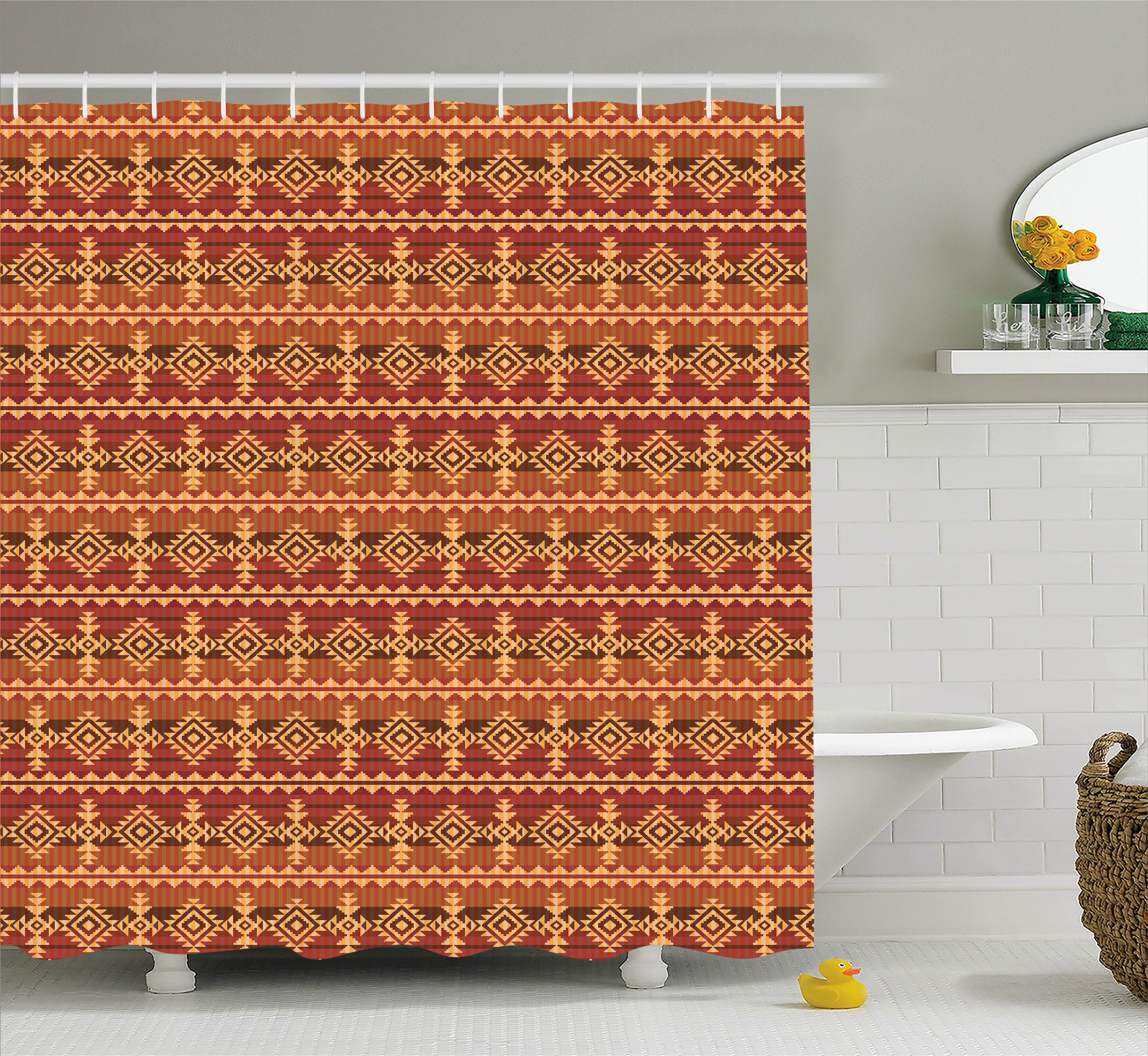 Bon Native American Decor Navajo Style Ethnic Cultural Ancient Seamless  Pattern, Bathroom Accessories, 69W X