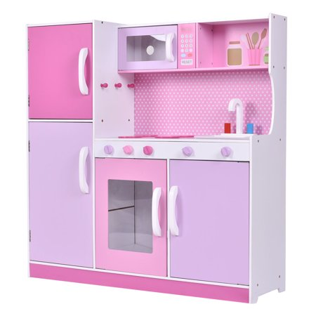 Costway Kids Wood Kitchen Toy Cooking Pretend Play Set Toddler ...