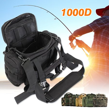 Fishing Tackle Waist Bag Reel Lure Gear Storage Shoulder Bag Holder, Waterproof 1000D Oxford Fabric (Only (Lube Fishing Reel)